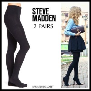 STEVE MADDEN BLACK OPAQUE TIGHTS 2 PAIRS A3C